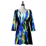 "Valentina Signa ""Wind Song"" Print V-Neck Tunic in Multi/Black - 19796-3"