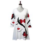 "Valentina Signa ""Butterflies"" Print V-Neck Tunic in Red, Black & White - 19798"