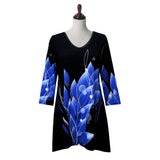 "Valentina Signa ""Blue Petals"" Abstract Print V-Neck Tunic  - 19832-2"