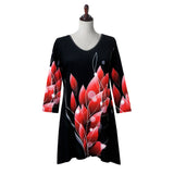 "Valentina Signa ""Reds"" Print V-Neck Tunic in Black/Red - 19832"