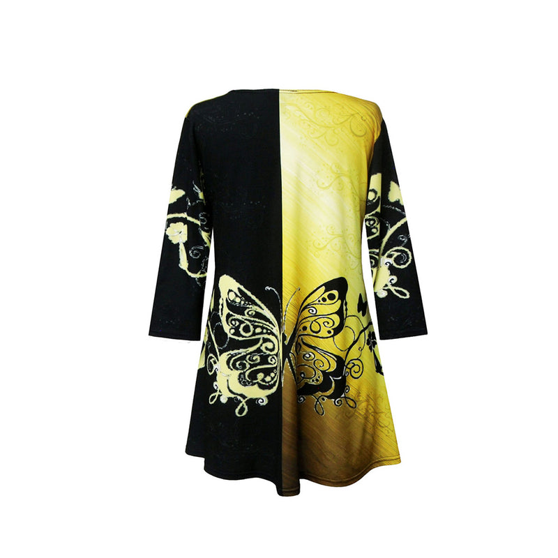 "Valentina Signa ""Butterflies"" Print V-Neck Tunic in Yellow/Black - 19965"