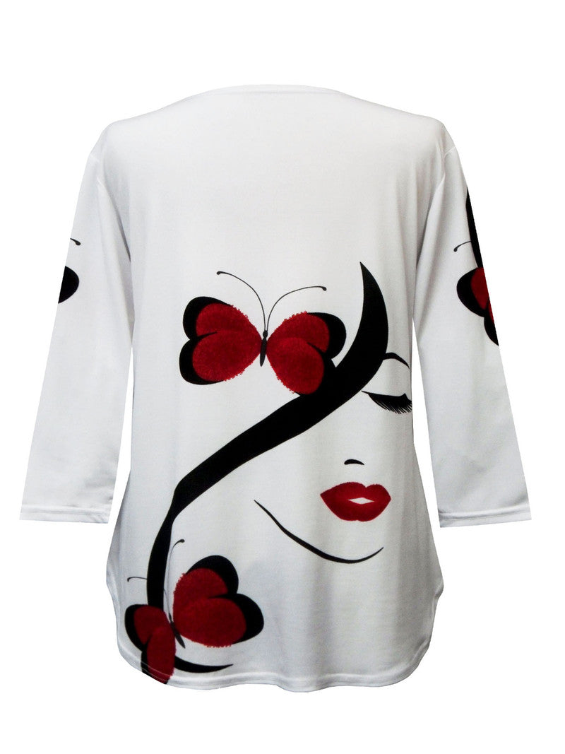 "Valentina ""Butterflies"" V-Neck Zip Front Top - Z19798-WHT"