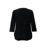 Valentina Signa Solid Zip Front Top in Black - PH-Z-BLK