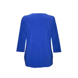 Valentina Signa Solid Zip Front Top in Blue - PH-Z-BLU