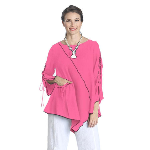 IC Collection Tunic w/ Piping Trim in Pink/Black - 1158T-PNK - Sizes S & M Only