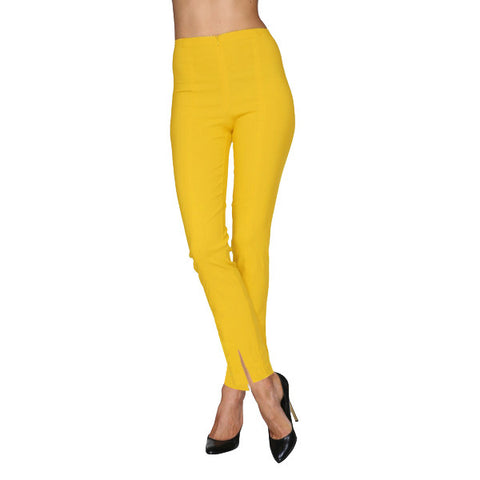 Mesmerize Pants with Front Ankle Slits and Front Zipper in Pineapple - MA21-PIN