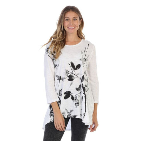 "Jess & Jane ""Playtime"" Abstract Print Mineral Washed Tunic in White - M55-1160"
