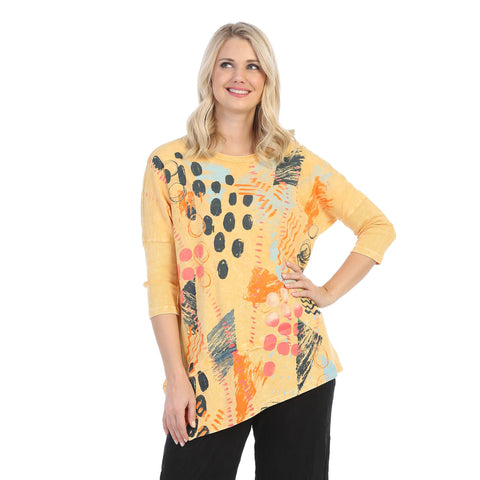 "Jess & Jane ""Dottie"" Mineral Washed Cotton Tunic Top in Wheat - M41-1410"