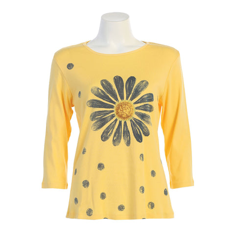 "Jess & Jane ""Happy Days"" Daisy Print Top in Yellow - 14-1361-YW"