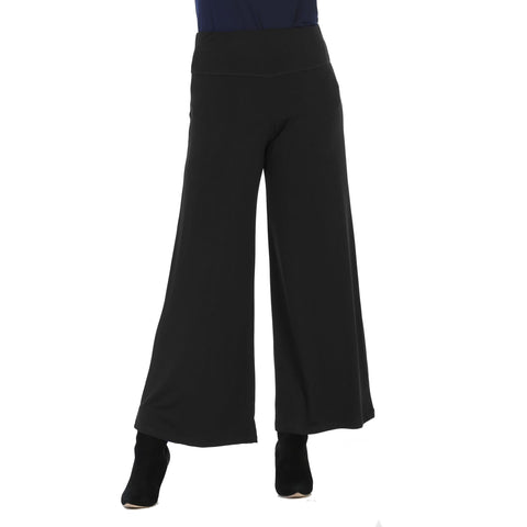 Jess & Jane Soft Stretch Knit Palazzo Pant in Black - Y3-BK