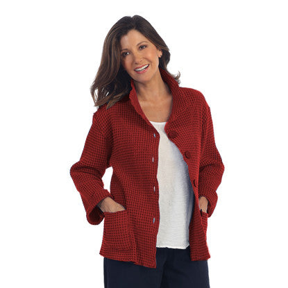 "Focus Fashion ""Waffle Jacket"" in Brick Red - C602-RED"