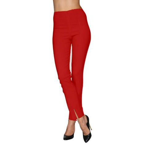 Mesmerize Pants with Front Ankle Slits and Front Zipper in Red - MA21-RED
