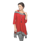 IC Collection Cold Shoulder Stripe-Trim Tunic in Red - 2724T-RD - Size S Only