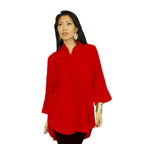 Dilemma Oversized Solid Big Shirt in Deep Red - GB-5026-RED