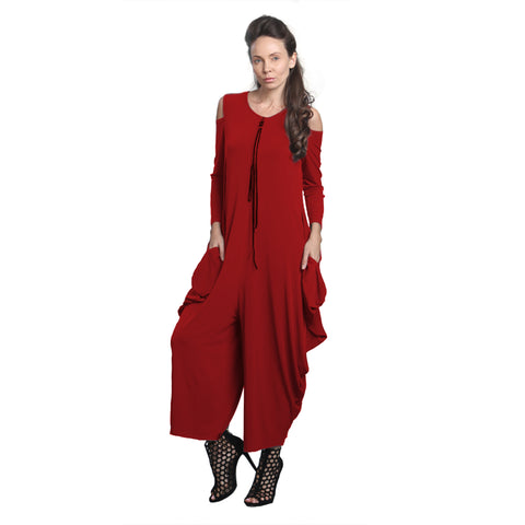 IC Collection Cold Shoulder Jumpsuit in Red - 8419JS