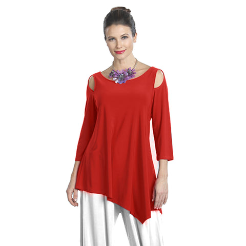 IC Collection Soft Knit Cold Shoulder Angle Tunic in Red - 6615