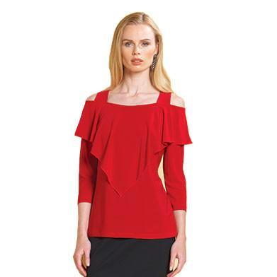 Clara Sunwoo Cold Shoulder Ruffle Front Top in Red - T84-RED - Size XL Only