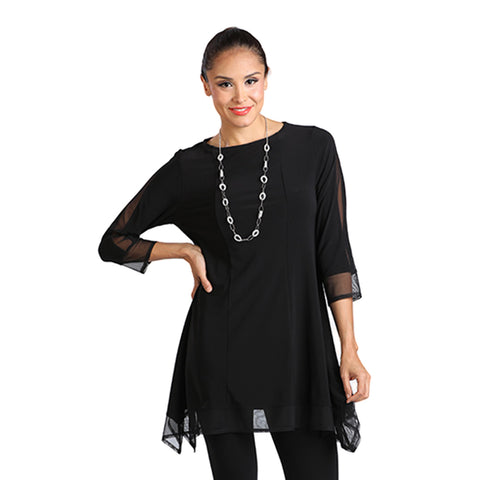 IC Collection Soft Knit Tunic With Mesh Border in Black - 5231T-BLK