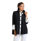 IC Collection Pleat Back Shirt in Black & White - 1268B-BLK