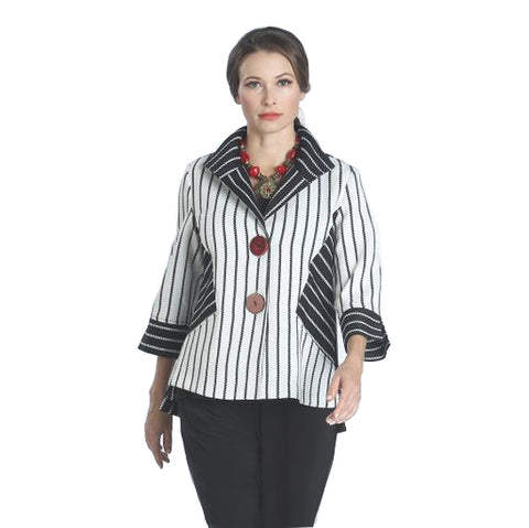 IC Collection Mixed Stripe Button Front Jacket in White/Black/Red- 1129J - Size L Only
