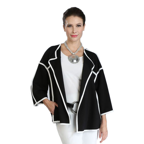 IC Collection Open Front Jacket in Black w/White Piping Trim - 3410J