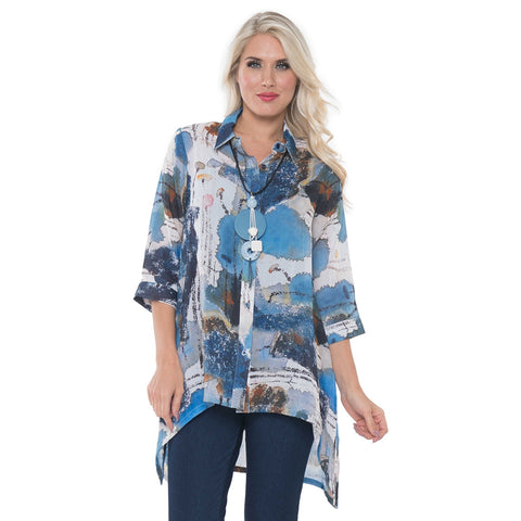 Lior Paris Print High-Low Blouse in Blue/Multi -S129-47 - Size M Only