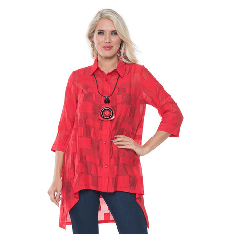 Lior Sheer High-Low Geometric Blouse in Red - S129-52