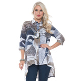 Lior Paris Print High-Low Blouse in Blue/Taupe -S129-53