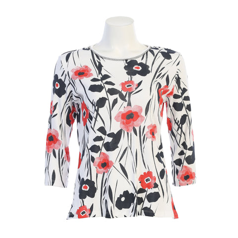 "Jess & Jane ""Friends"" Floral Print Top in White/Multi - 14-1474WT - Sizes S & 1X"