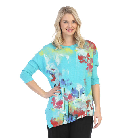 "Jess & Jane ""Watercolor"" Mineral Washed Cotton Tunic Top in Emerald - M41-1350"