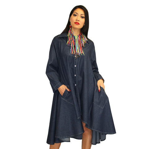 Dilemma Fashions Long Denim Swing Dress - PS-1045-DNM