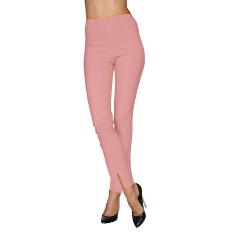 "Mesmerize  ""Mariel 32"" Cotton Denim Pants w/Front Ankle Slits in Salmon - MA32-SALM"