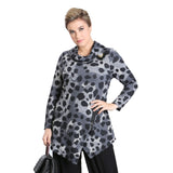 IC Collection Animal Print Sweater Knit Tunic in Charcoal/Multi - 3116T - Sizes M & L Only