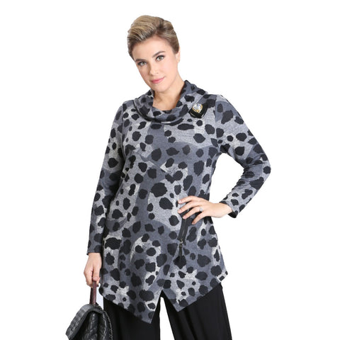 IC Collection Animal Print Sweater Knit Tunic in Charcoal/Multi - 3116T