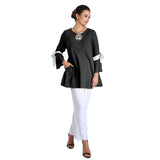 IC Collection Textured A-line Tunic w/Bow Details in Black/White - 2135T
