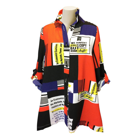Moonlight Colorblock Button Front Shirt/Jacket in Multi - 2661- Size M Only