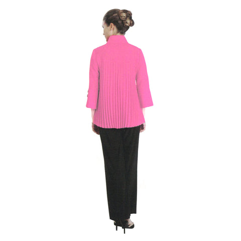 IC Collection Accordian-Back Bell Sleeve Jacket in Pink/Black - 2142J-PK - Sizes S & XXL Only
