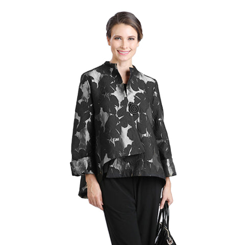IC Collection Floral Brocade Asymmetric Jacket in Silver - 2093J-SLV