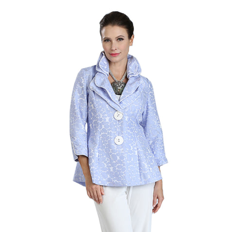 IC Collection Button-Front Jacquard Fitted Jacket in SkyBlue/White - 3062J-SKY