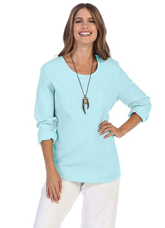 Focus Fashion Waffle Top in Sky Blue - C519-SKY