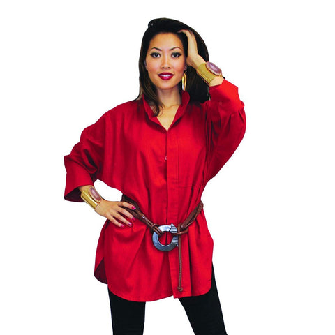 Dilemma Fashions Solid Big Shirt in Red - GB5001-RD