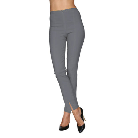 Mesmerize Pants with Front Ankle Slits and Front Zipper in Steel Gray - MA21-SGRY
