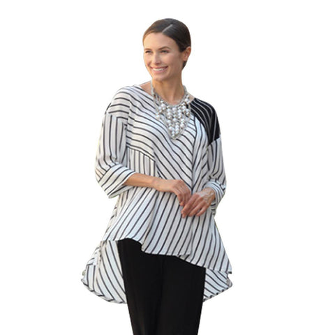 IC Collection Striped Hi-Low Tunic in Black & White - 2475T-WHT- Size M Only