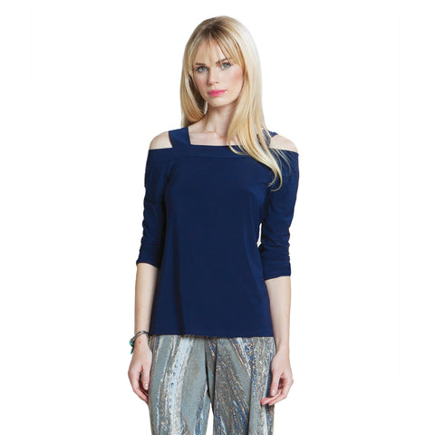 Clara Sunwoo Open Shoulder Top in Navy- T125-NVY
