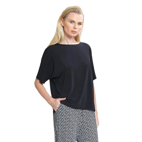 Clara Sunwoo Solid Soft Knit Loose Top in Black - T20-BLK - Size XS Only