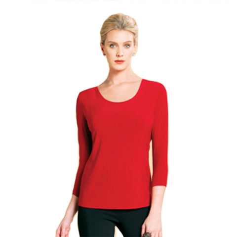 Clara Sunwoo U or V Neckline Top in Red - T31RD - Size S, L, & XL Only!