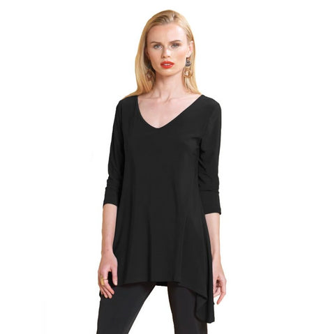 Clara Sunwoo Basic V-Neck Tunic in Black - T68-BLK - Sizes XS, S & M Only