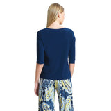 Clara Sunwoo Scoop Neck Half Sleeve Top in Navy - T77-NVY