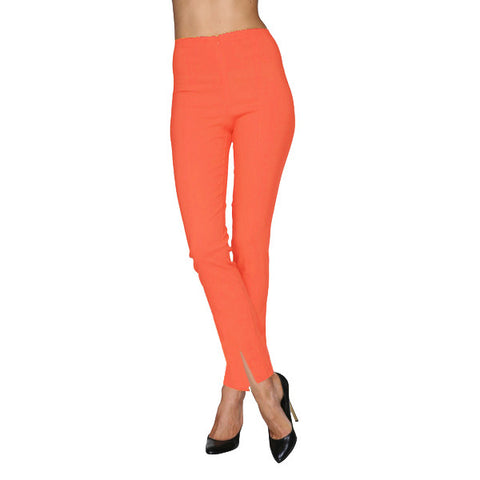 Mesmerize Pants with Front Ankle Slits and Front Zipper in Tangerine - MA21-TNG