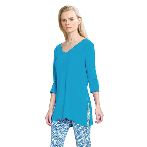 Clara Sunwoo V-Neck Side Slit Tunic in Turquoise - T103-TQ - Size S Only